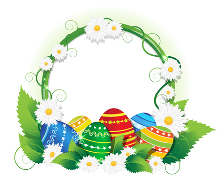 lush foliage: Colorful painted Easter eggs with lush foliage and daisies. Easter background with round place for text