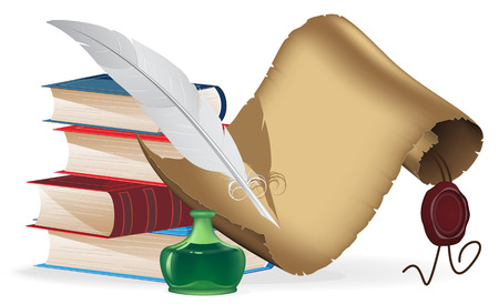 inkwell: Pile of old books, feather, inkwell and paper scroll on a white background. Education concept
