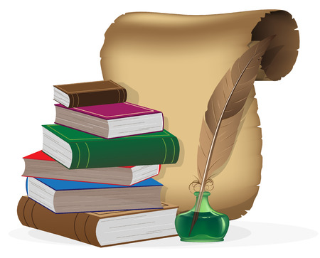 Hardcover books, paper scroll, inkwell and feather