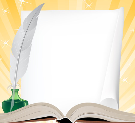 Open book, paper scroll and feather on a shining background Vector
