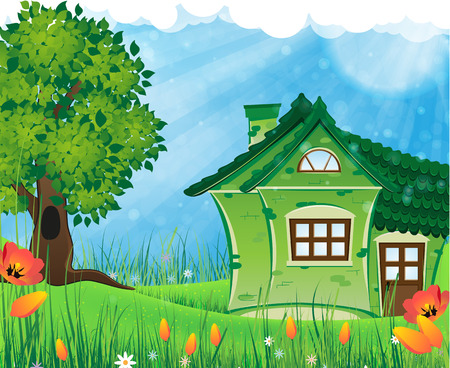 House with tiled roof on a green meadow. Summer solar landscape