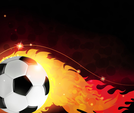 Burning ball on a black background. Abstract soccer background. Vector