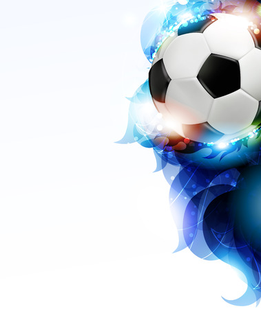 Soccer ball with transparent blue petals on a white background.  Abstract soccer background.