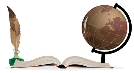 Open book, globe and feather on a white background Vector