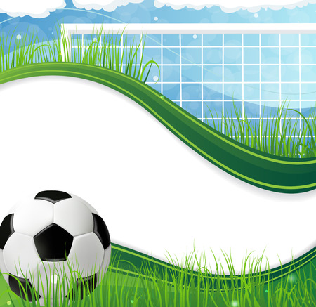 Soccer gate and ball  on grass against a blue background. Abstract soccer background Illustration
