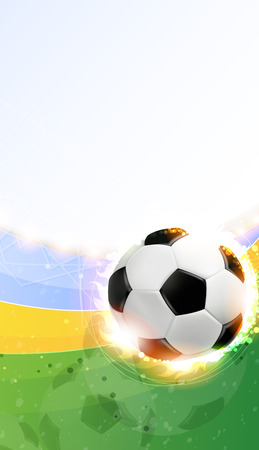 Soccer ball illuminated by spotlights on a green background. Abstract sports background.  Vector