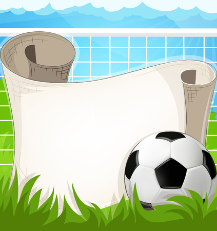 Soccer gate and ball with paper scroll against a blue background. Abstract soccer background