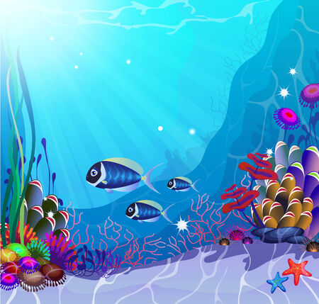 exoticism saltwater fish: Underwater landscape with exotic plants and animals Illustration