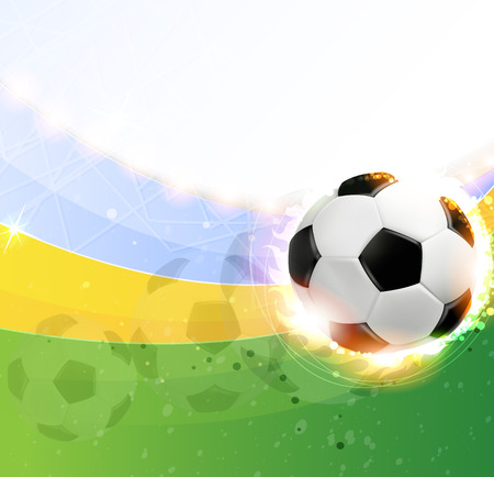 Soccer ball illuminated by spotlights on a green background Vector
