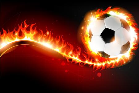 抽象的な火災で赤い背景の上の燃焼のサッカー ボール  イラスト・ベクター素材