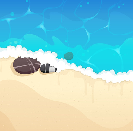 foaming: Sandy coast and foaming waves with pebble Illustration