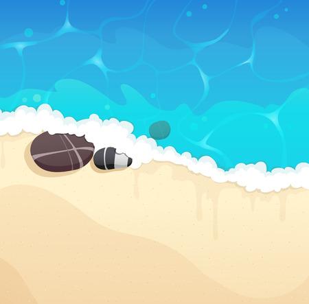 shingle: Sandy coast and foaming waves with pebble Illustration