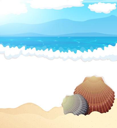 espumante: Costa de arena y olas de espuma con conchas marinas Vectores