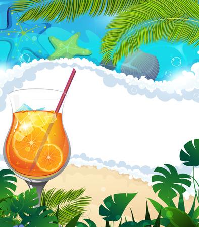 citrus tree: C�ctel con naranja rebanada y cubos de hielo en el fondo tropical