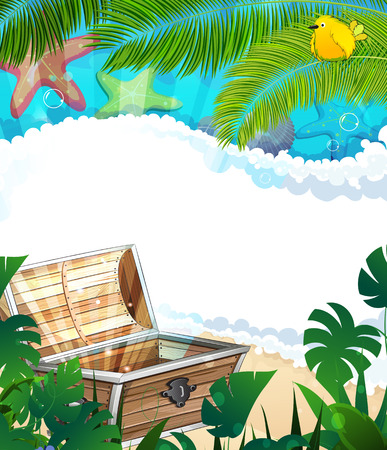 treasure box: Treasure Chest on a sandy beach with lush tropical vegetation and animals