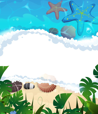 foaming: Sandy coast and foaming waves with starfishes, shells  and tropical vegetation Illustration