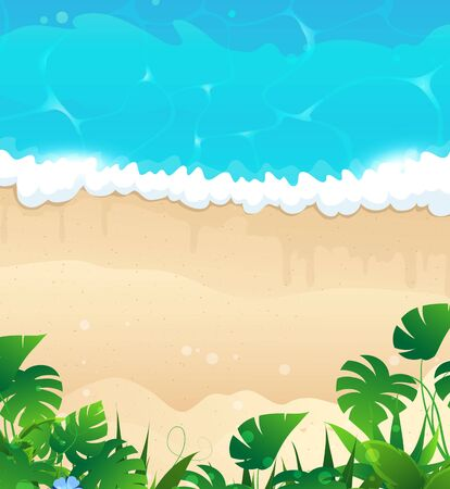 tropical beach panoramic: Sandy coast with ocean waves and tropical vegetation Illustration
