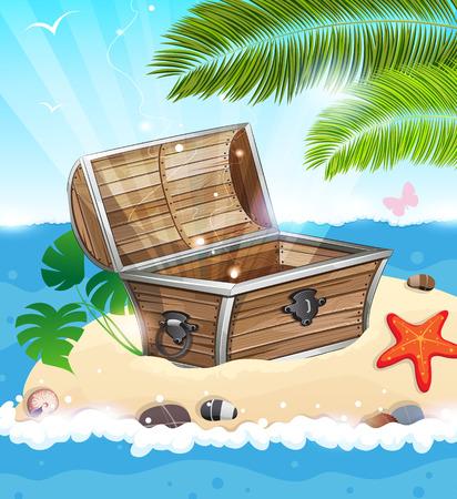 Treasure Chest op zanderige eiland met palmboom in het midden van de oceaan