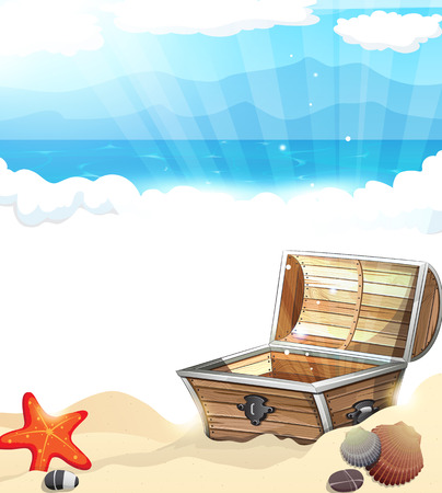 Treasure Chest on sandy beach of ocean coast