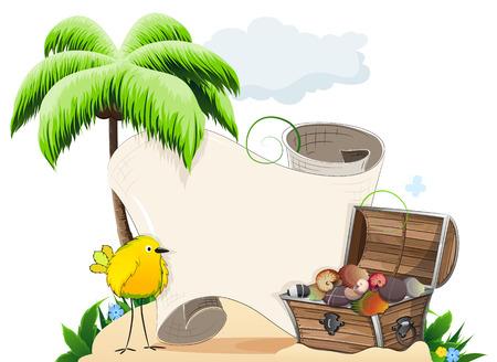 shingle: Tropical island with palm tree, tropical bird and treasure chest