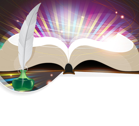 Open book, feather and inkwell on an abstract background Illustration
