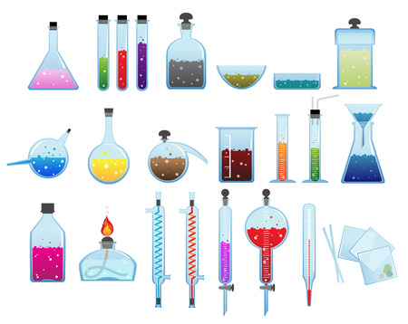 reagents: Set of laboratory glassware and equipment on a white background Illustration
