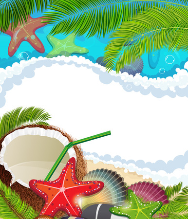 foaming: Sandy coast and foaming waves with palm branches, coconut cocktail and  starfishes