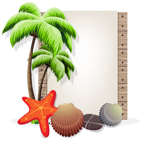 pebble: Palm tree, starfish, pebble and shells on a wooden background