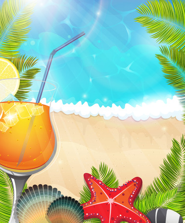 Cocktail with lemon slice and ice cubes on tropical background