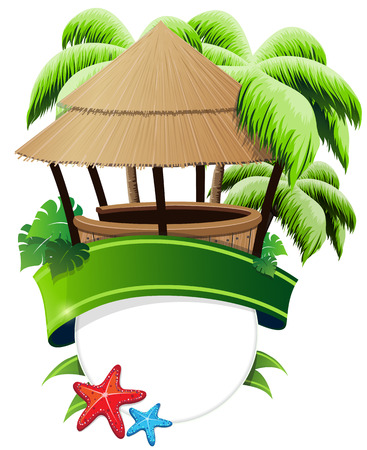 Bungalow bar, palm trees and starfish with a green ribbon and a round place for text Vector
