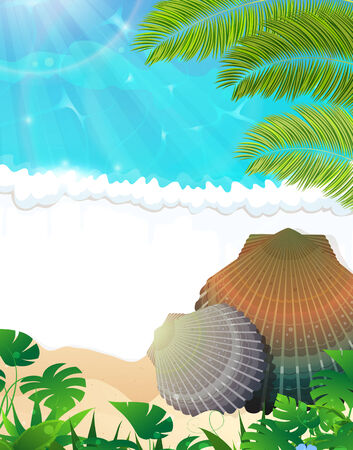 foaming: Sandy coast and foaming waves with seashells and palm branches Illustration