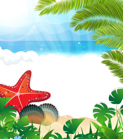 foaming: Sandy coast and foaming waves with palm branches, cockleshells and starfish  Illustration