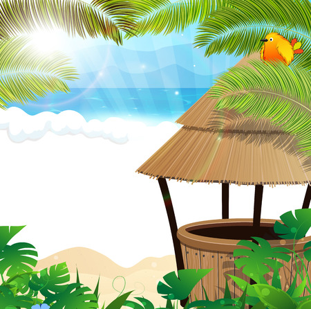 Tropical sandy coast with palm branches and bungalow bar Vector