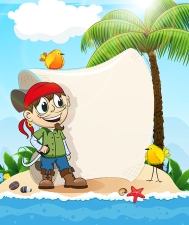 Good natured pirate on a desert island with birds and paper scroll