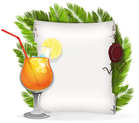 sealing: Cocktail with lemon slice and paper scroll with palm branches