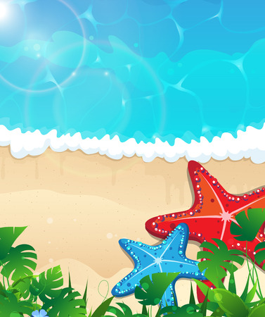 foaming: Sandy coast and foaming waves with starfishes and tropical vegetation Illustration
