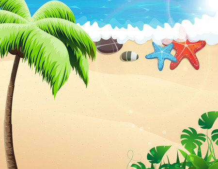 foaming: Sandy beach and foaming waves with palm trees and  starfishes  Illustration