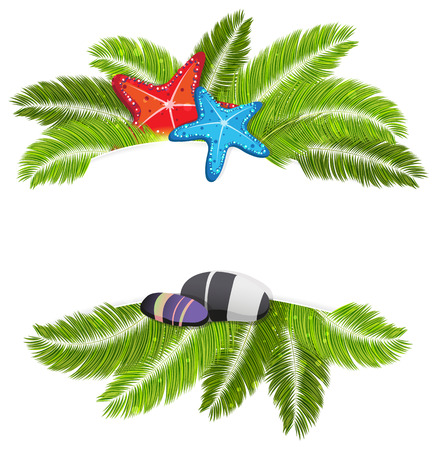 palmetto: Palm branches, starfishes and pebble with place for text on white background Illustration