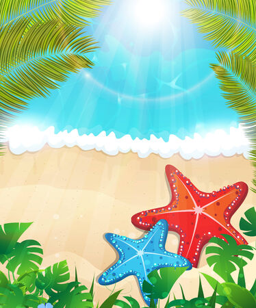 foaming: Tropical beach and foaming waves with palm branches and  starfishes  Illustration