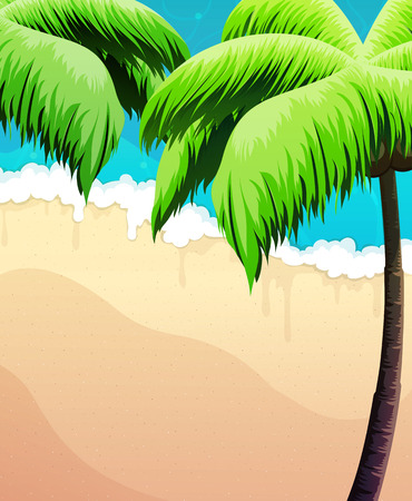 tropical beach panoramic: Sandy coast with palm trees and ocean waves
