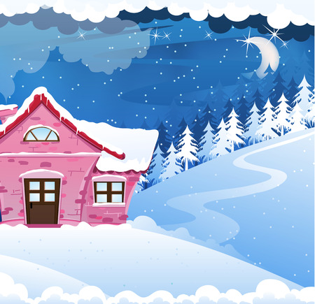 chalet: Fairy house with pink tiles in a pine forest. Winter night landscape.