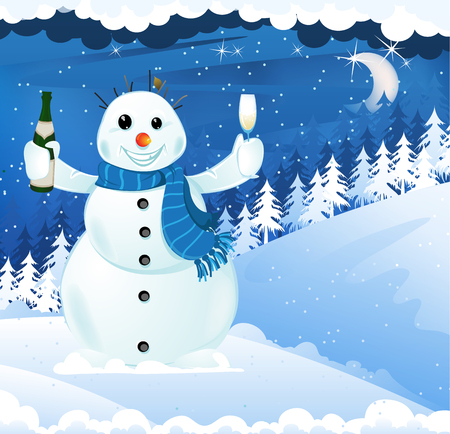 Cheerful snowman with champagne and a glass on a winter background Vector