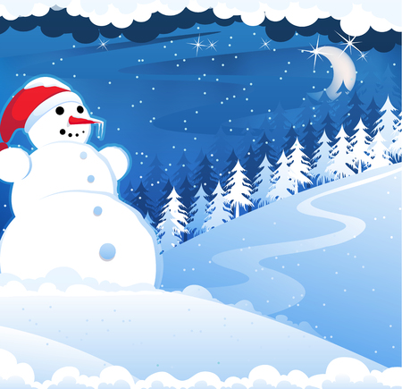 Snowman with red hat in the snowy woods. Winter Night Scene Vector