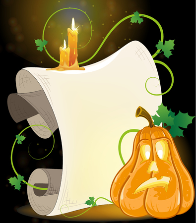 Pumpkin monster with parchment and burning candles on a dark background Vector
