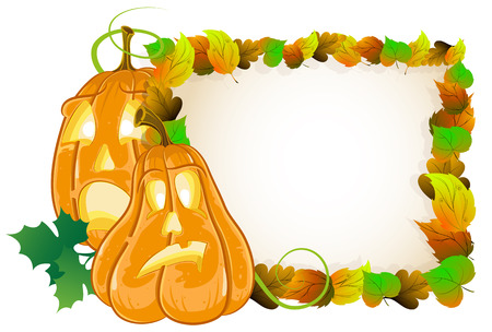 Jack o lanterns on a background of autumn leaves. Halloween Greeting Card Vector