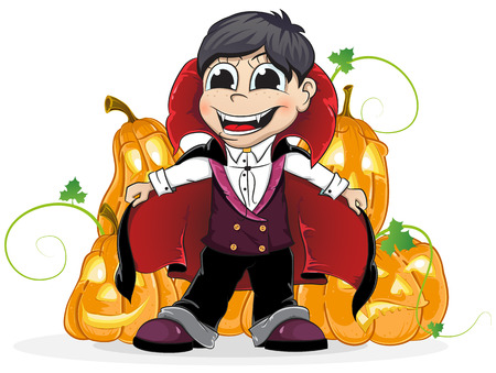 Boy dressed as a vampire and  Jack O Lanterns on a white background.  Vector