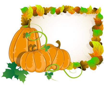 Pumpkins on a background of autumn leaves. Halloween Greeting Card Vector