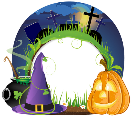Witch hat, boiling cauldron and pumpkin head on a night cemetery