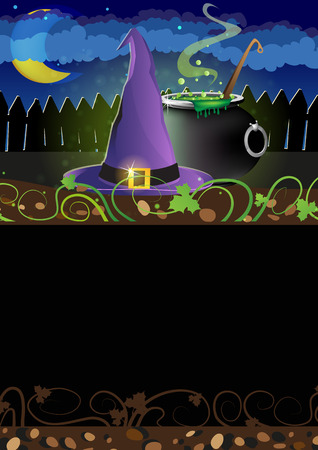 bewitchment: Witch hat and boiling cauldron near the fence.