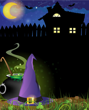 Witch hat and boiling cauldron near the house with glowing windows